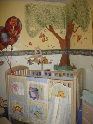 Crib area of the Winnie the Pooh and Friends